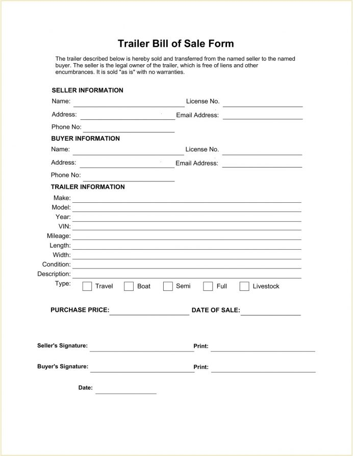 Trailer Bill Of Sale Form Template PDF Sample Michigan, Florida, Do You Need A For Trailer, Travel Sale, Ontario,
