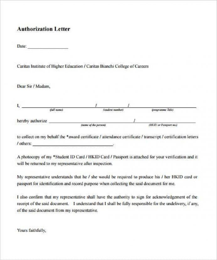 Academic Authorization Letter Template Sample Letter 9+ Interesting Authorization Letter Template Examples