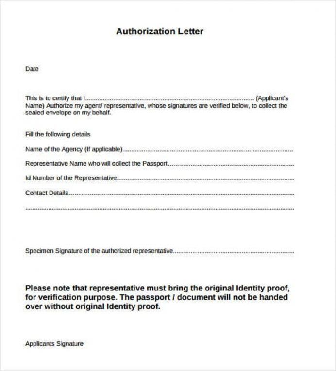 Authorization Letter For Agent Template Sample Letter 9+ Interesting Authorization Letter Template Examples