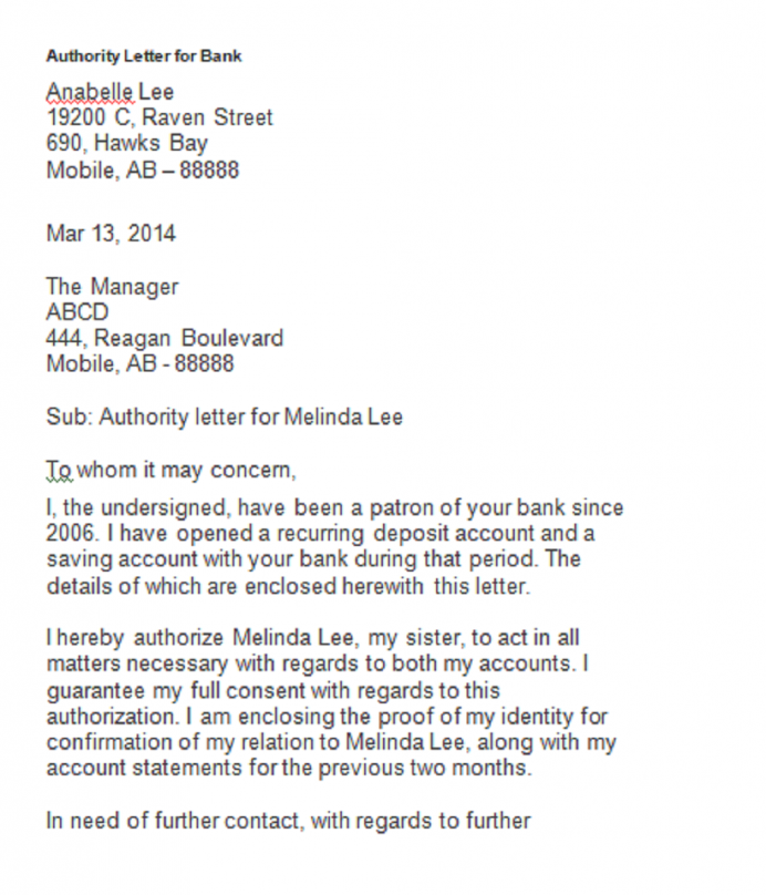 Authorization Letter Bank Sample Letter 9+ Interesting Authorization Letter Template Examples