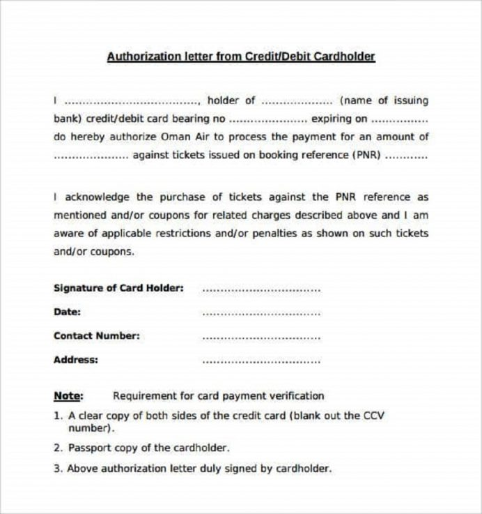 Authorization Letter For Credit Card Template Sample Letter 9+ Interesting Authorization Letter Template Examples