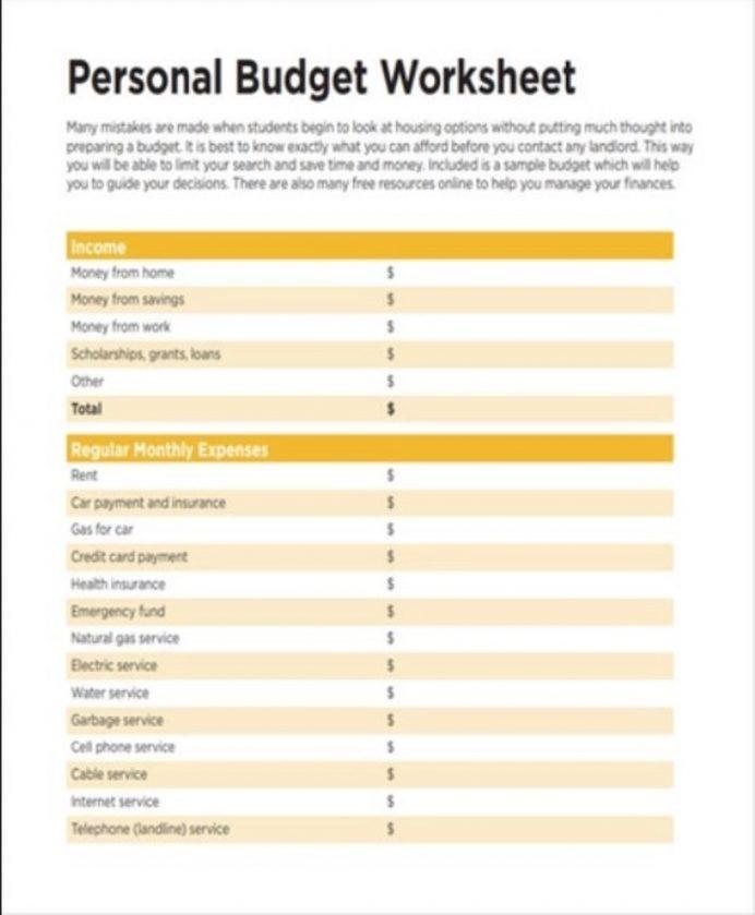 Basic Personal Budget Worksheet Template Sample Example Examples App, Plan Sample, Free Printable Templates, Simple Template, Best