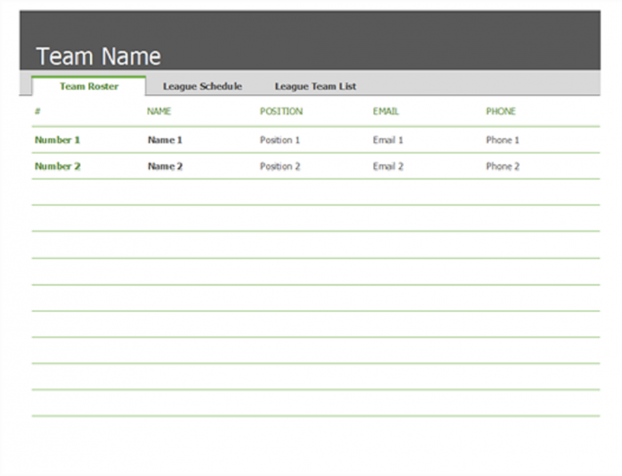 Blank Team Sports Roster & Schedule Template Xls And Examples Template, Maker Excel Employee Excel, Monthly