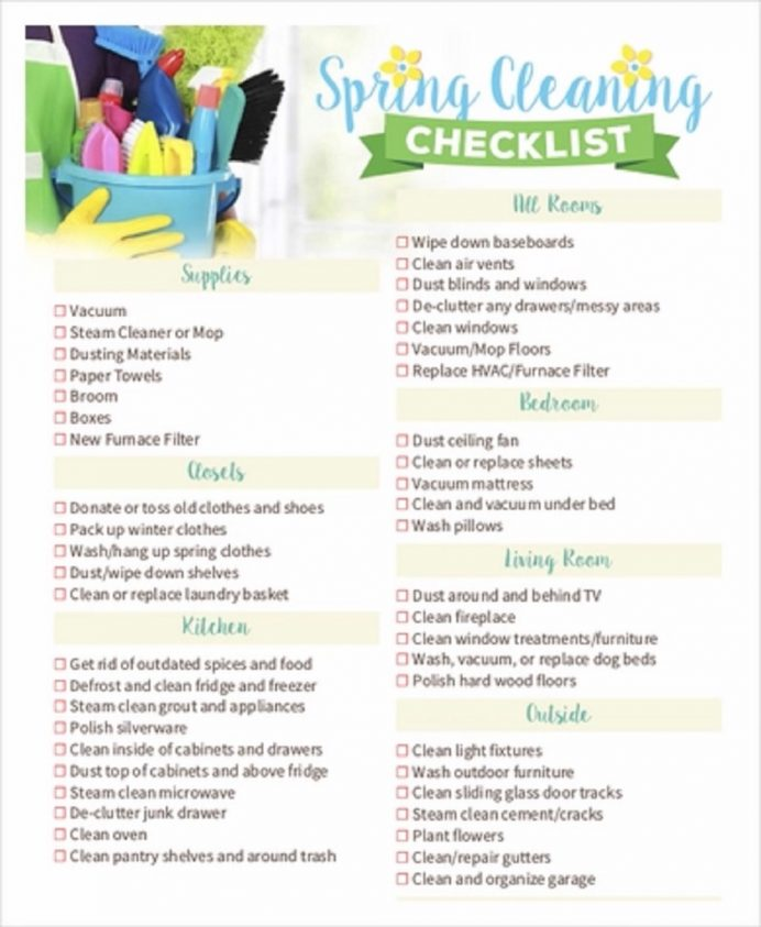 Spring Cleaning Checklist Sample Template Examples Weekly Checklist, Daily House Pdf, Printable, Excel,