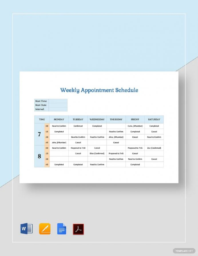 Weekly Appointment Schedule Template Sample Schedule Weekly Schedule Template Samples