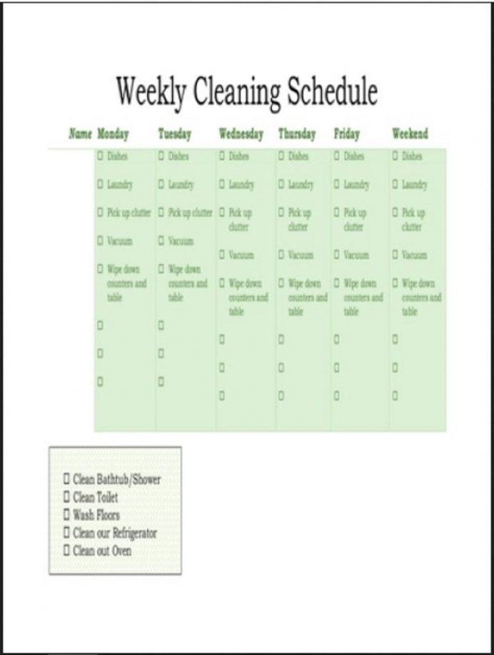 Weekly Cleaning Schedule Template Example Schedule Weekly Schedule Template Samples