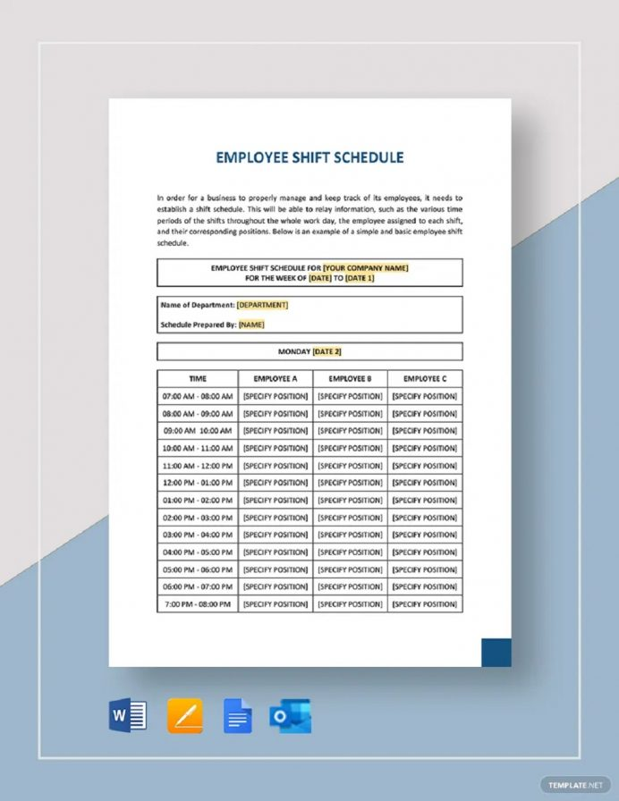 Weekly Employee Shift Schedule Template Sample Schedule Weekly Schedule Template Samples