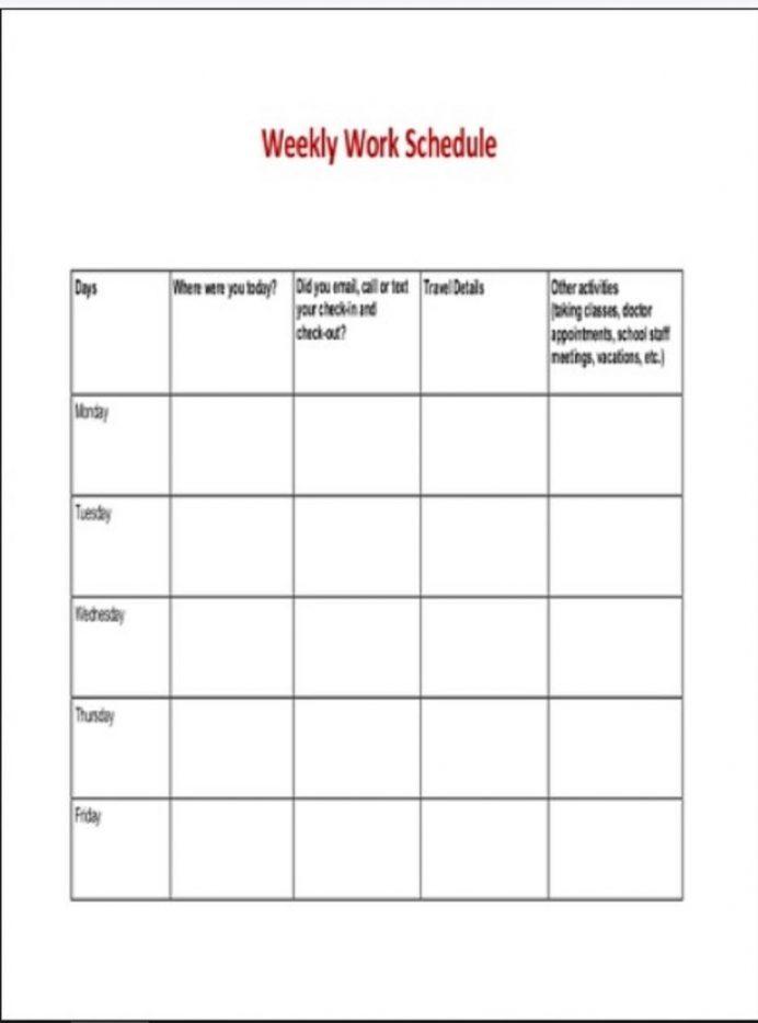 Weekly Work Schedule Sample Template Schedule Weekly Schedule Template Samples