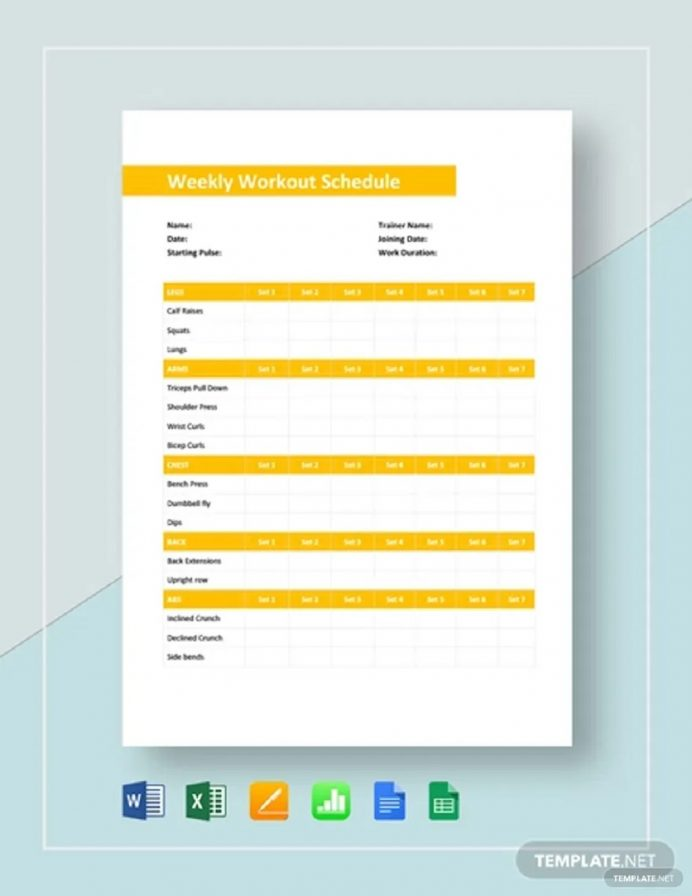 Weekly Workout Schedule Template Sample Schedule Weekly Schedule Template Samples