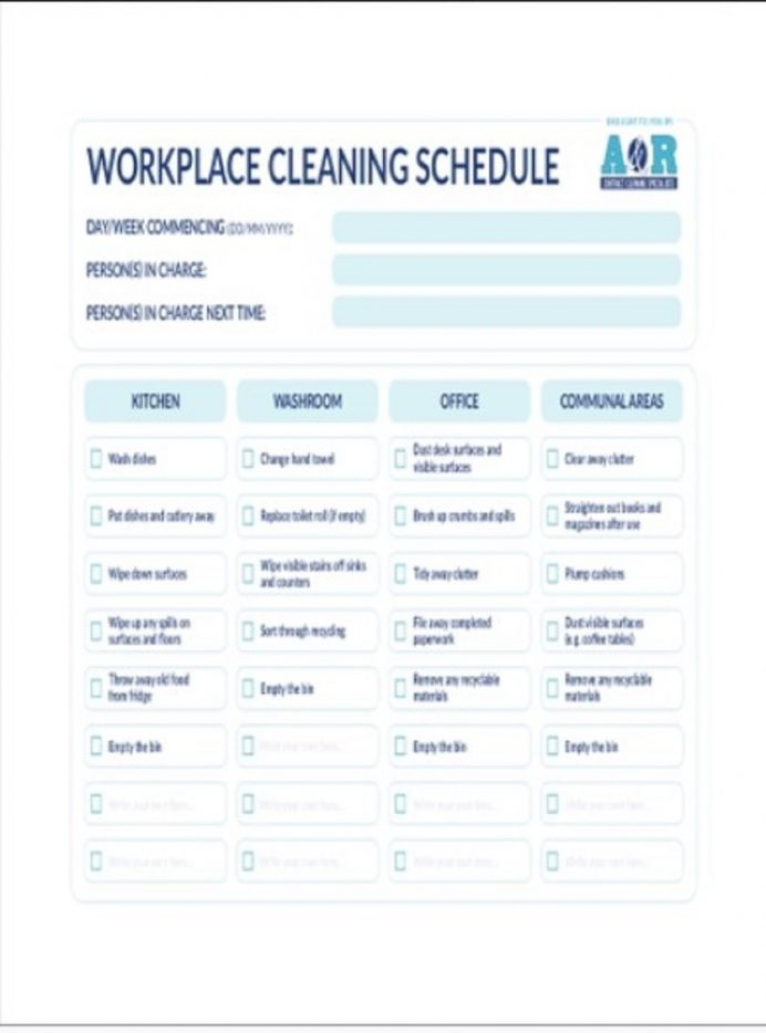 Workplace Cleaning Schedule Template Sample Examples Office Schedule, Editable Template, Printable Monthly House