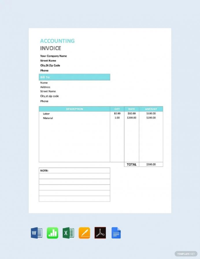 Accountant Service Invoice Form (CPA) Template Template, Sample For Bookkeeping Services, Accounting Services Rendered,