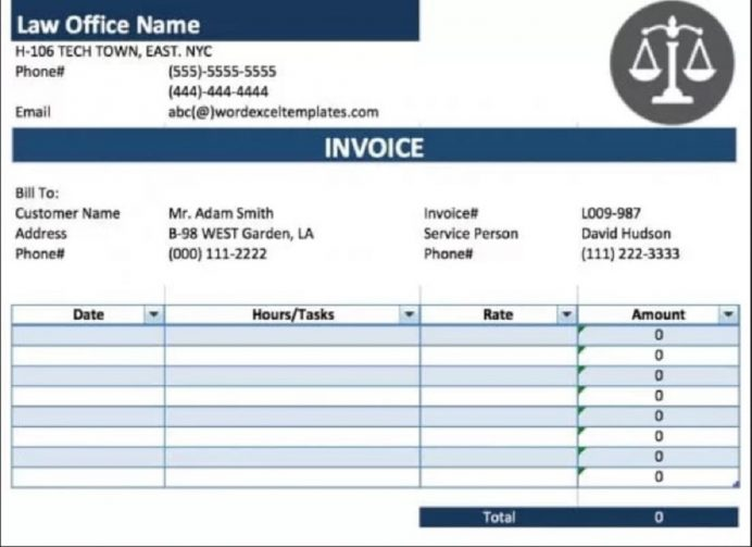Legal Service Invoice Form (Attorney/Lawyer) Template Template, Sample, Excel, Advocate Bill Invoice, Law Firm Generator,