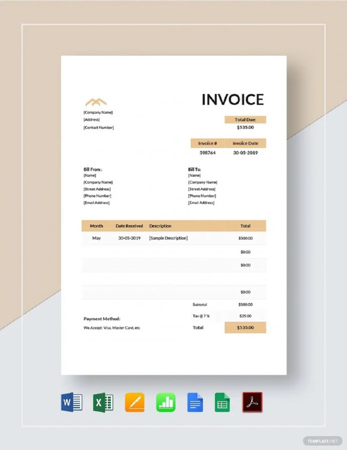 Monthly Rent Invoice Template Format Sample Example (Lease) Samples Rental Excel, Receipt Template, With Gst, For Tenant, House Invoice,