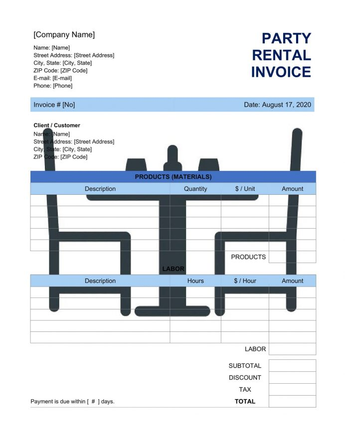 Party Rental Invoice Template Invoice Party Rental Invoice Template Sample