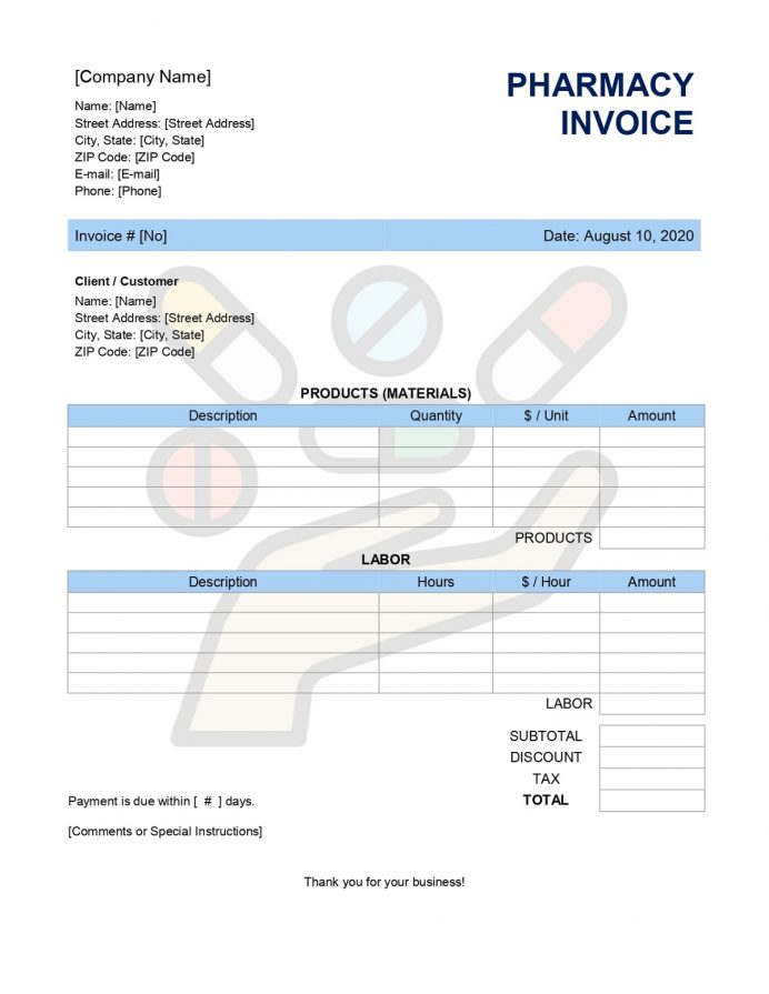 Pharmacy Invoice Form Sample Free Template Excel, Receipt, Bill Format In Word, Online,
