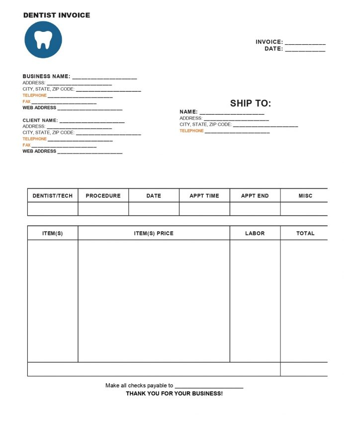 Dental Invoice Form Free Template Copy Of Bill, Fillable Invoice, Receipt Pdf, Treatment Word,