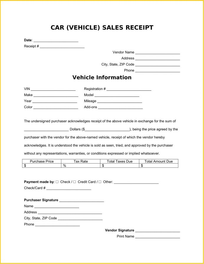 Car Vehicle Sales Receipt Word Template Example Sale Pdf, Free Template, Used Private Sale, Word, Receipt,