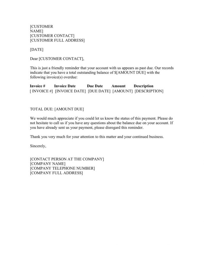 Past Due Invoice Letter Word Doc Format Template Sample (with Letter) Template, Free Overdue Payment Reminder Email Sample, Email,