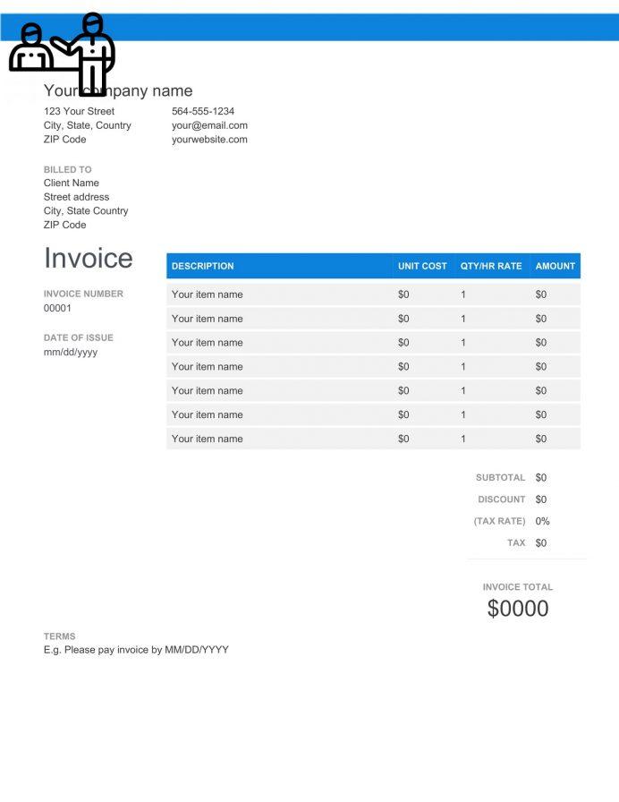 Personal Trainer Invoice Template Bill Receipt Word Format Invoice Personal Trainer Invoice Template Sample