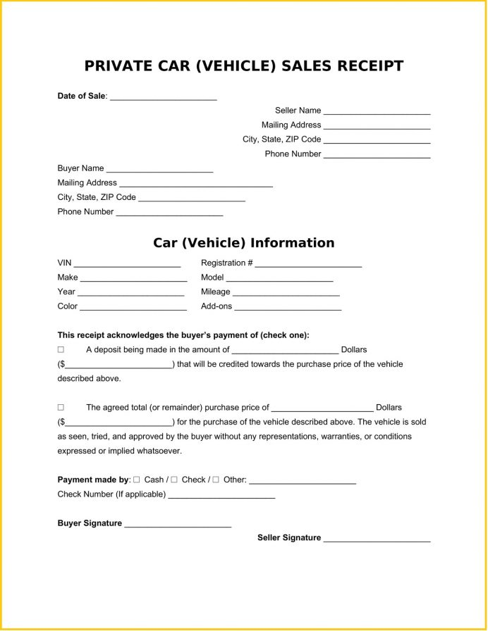 Private Sales Vehicle Receipt Word Template Free Sample Printable Car Sale Template, Writing A For Sale, Cash Of Car, Sample,