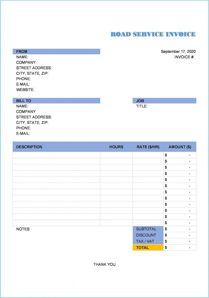 Road Service Invoice Excel Template Invoice Free Road Service Invoice Template Sample (Roadside Assistance)