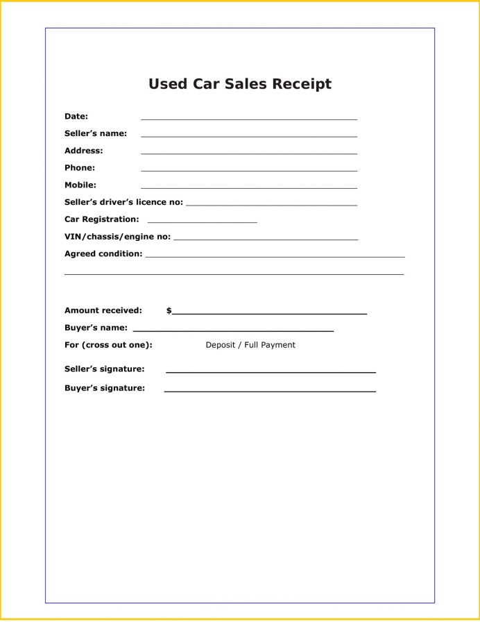 Used Car Sale Receipt Word Template Free Sales Example Word, Sample, Cash For Of Car, Template,
