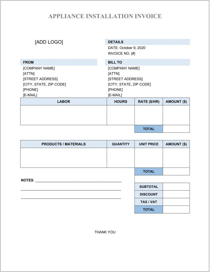 Appliance Installation Invoice Template Word Sample Repair Forms, Air Conditioner Bill Format, Equipment Template, Work Order Form, Format In Word,
