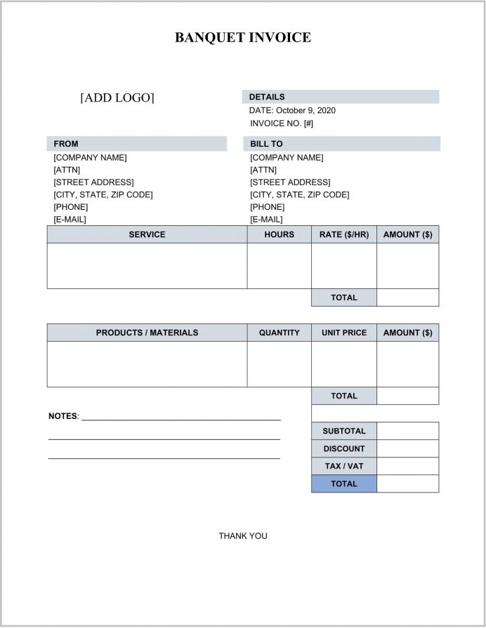 Banquet Invoice Template Word Example Catering Template, Simple Marriage Hall Bill Format, Food Excel, Indian
