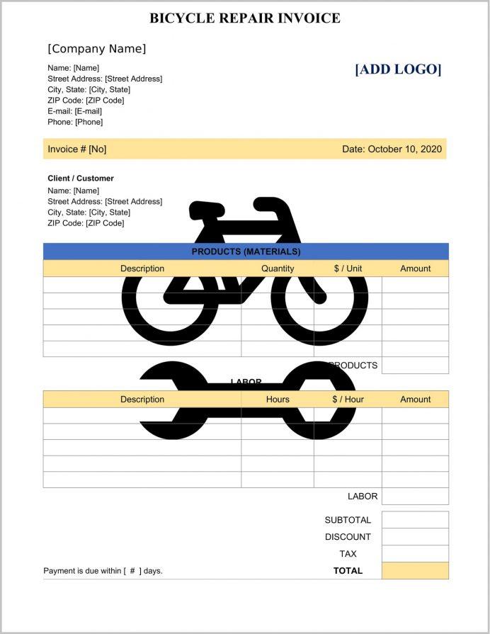 Bicycle Repair Invoice Template Word Sample Form, Service Pdf, Bike Format, Maintenance Bill, Word,