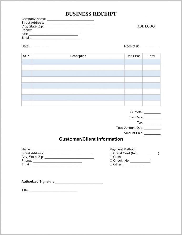 Business Receipt Template Word Sample Word, Pdf, Simple Template, Payment Doc,