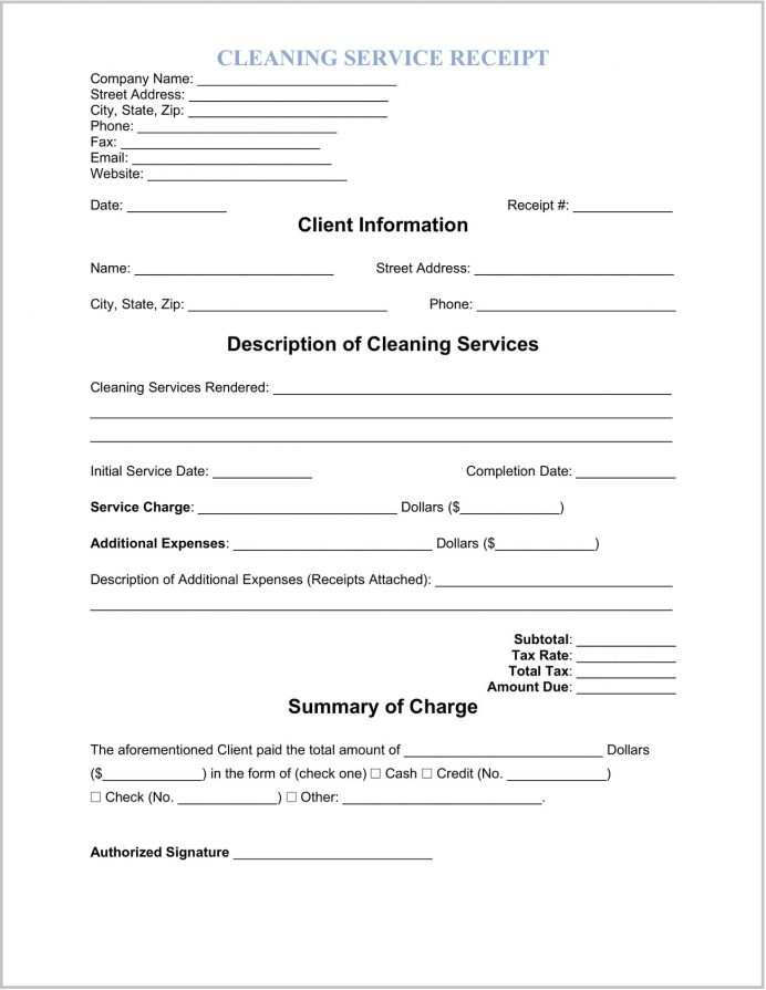 Cleaning Service Receipt Template Word Sample Carpet Template, Janitorial Free, Bill's Service, Self-employed Cleaner How To Bill For Services,