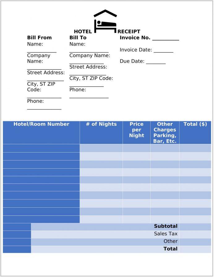 Hotel Receipt Template Word Form Receipt Hotel Receipt Template Sample