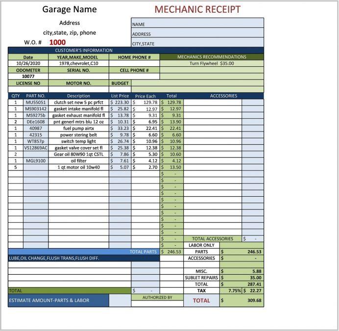 Mechanic Receipt Template Excel Form Sample Auto Repair Invoice Software Free Download, Template, App, Fillable Receipt, Shop