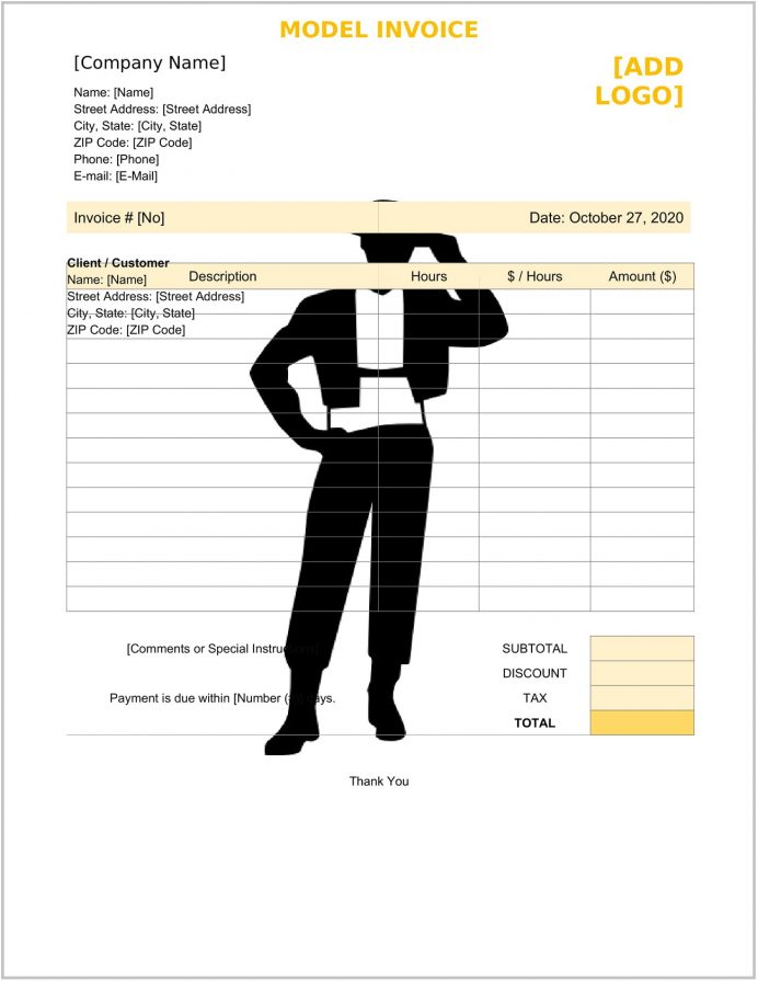 Model Invoice Template Form Doc Word Example Freelance Invoice, Talent Template, Blank Word, Docx, Download