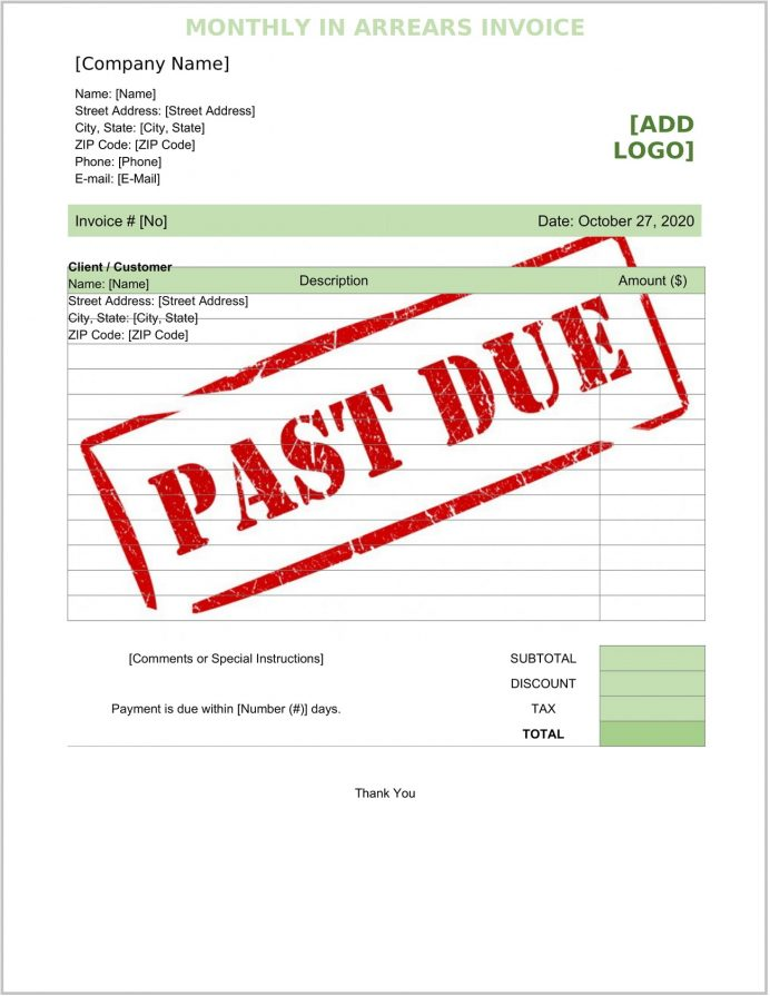 Monthly In Arrears Invoice Word Template Form Sample Billing Advance Accounting, Meaning, Or Arrears, Example, A Month Advance,