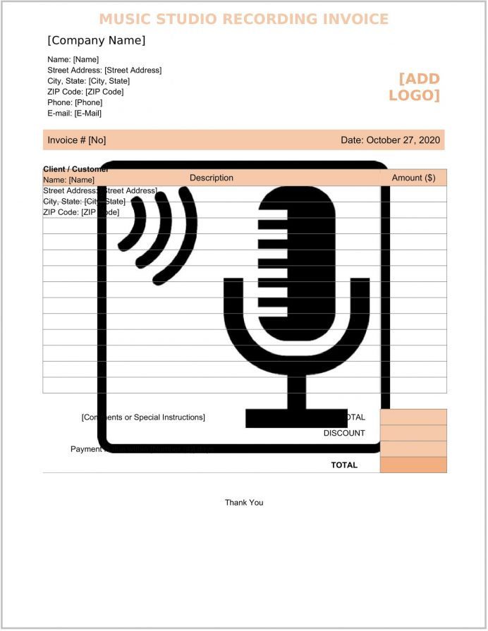 Music Studio Recording Invoice Word Form Template Label Example Artist Pdf, Licensing Template, Invoice, Entertainment Musical Performance