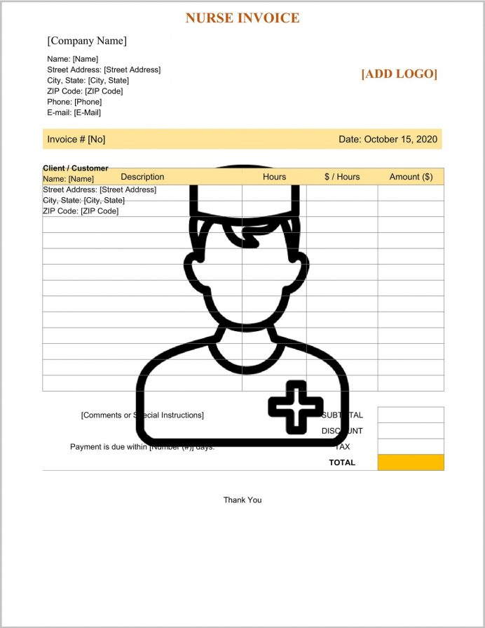 Nurse Invoice Template Word Doc Form Sample Personal Care Invoice, Hospital Template, Bill Format In Excel Free Download, Medical Word, Pharmacy Receipt