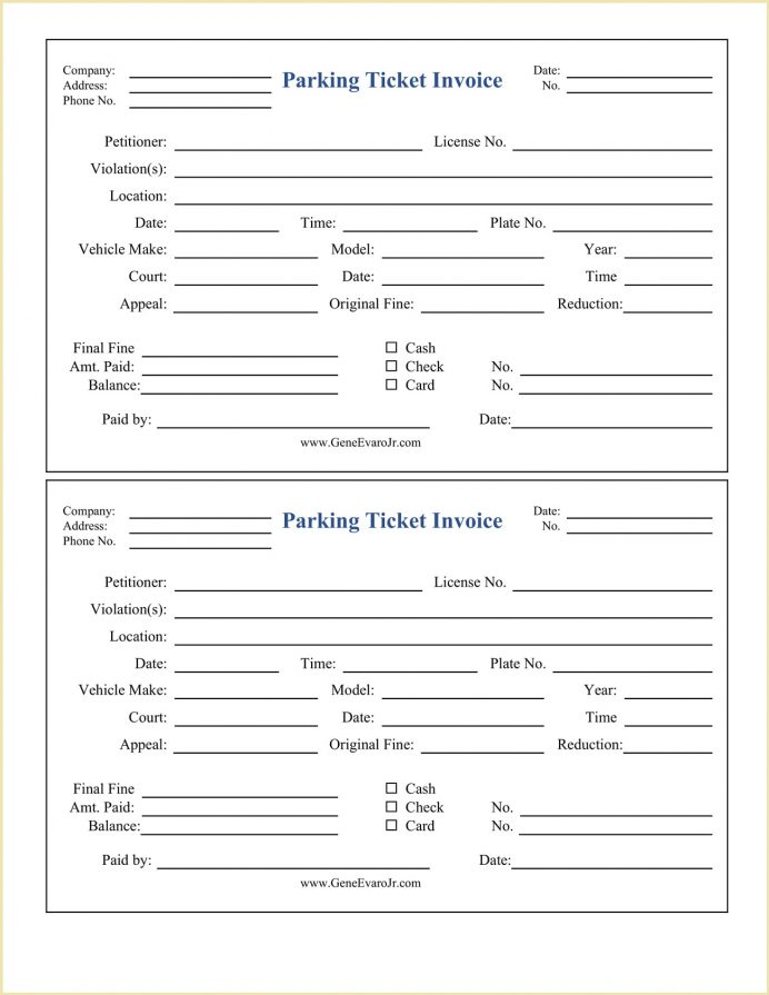 Parking Ticket Invoice Form Template Word Sample Printable Receipt Template, Pdf, Free Generator, Monthly Editable Receipt,