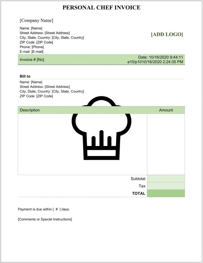 Personal Private Chef Invoice Word Template Form Format & Sample Self-employed Template, Sample, Invoice, Csv Salary