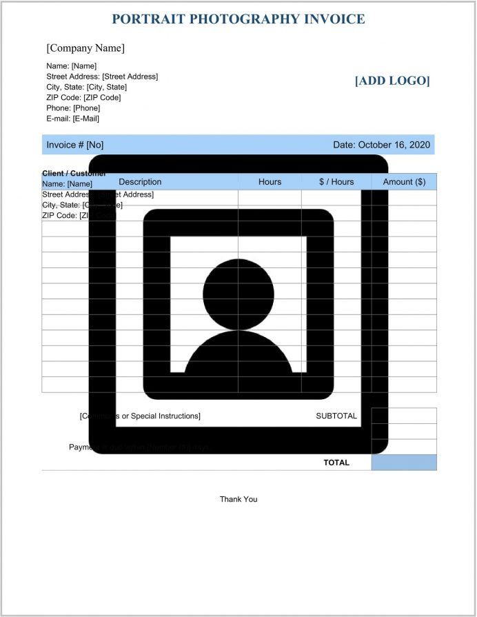 Portrait Photography Invoice Template Word Form Example Photo Studio Bill Format In Word, Google Docs, Commercial Invoice, Format,