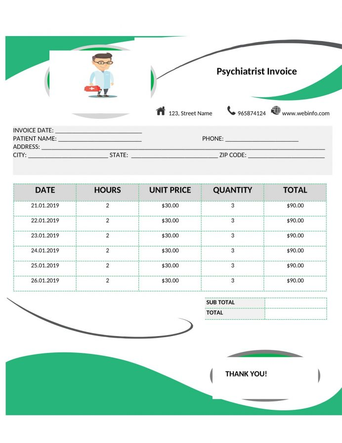 Psychiatrist Practitioner Invoice Template Word Form Sample Professional Services Invoice, Psychologist Template, Medical Generator, Doctor
