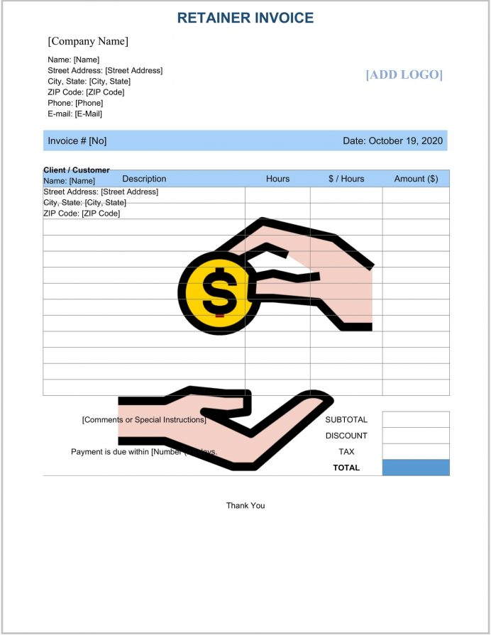 Retainer Invoice Template Word Sample Books, Consulting Template, Monthly Invoice, For Fee, Vs Proforma