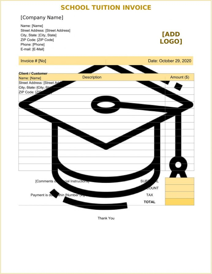 School Tuition Invoice Form Template Word Sample Fee Receipt Format In Excel, Word, Format, Fake College Bill, Sample,