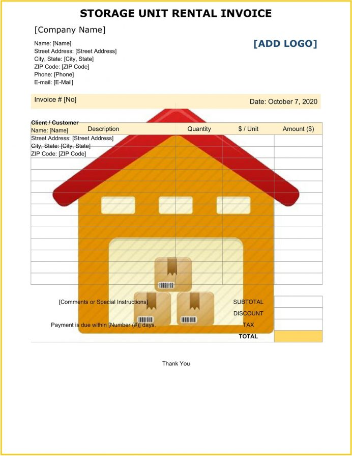 Storage Unit Rental Invoice Template Word Sample Receipt, Equipment Template, House Invoice, Rent Format With Gst, Word,