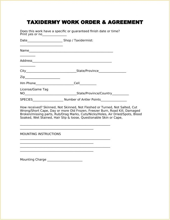 Taxidermy Work Order Form Template Word Work Order Sample Taxidermy Work Order Template