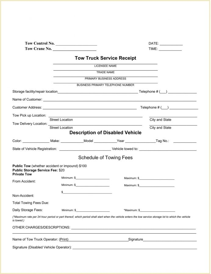 Tow Truck Service Receipt Form Word Doc Template Receipt Sample Tow Service Receipt Template