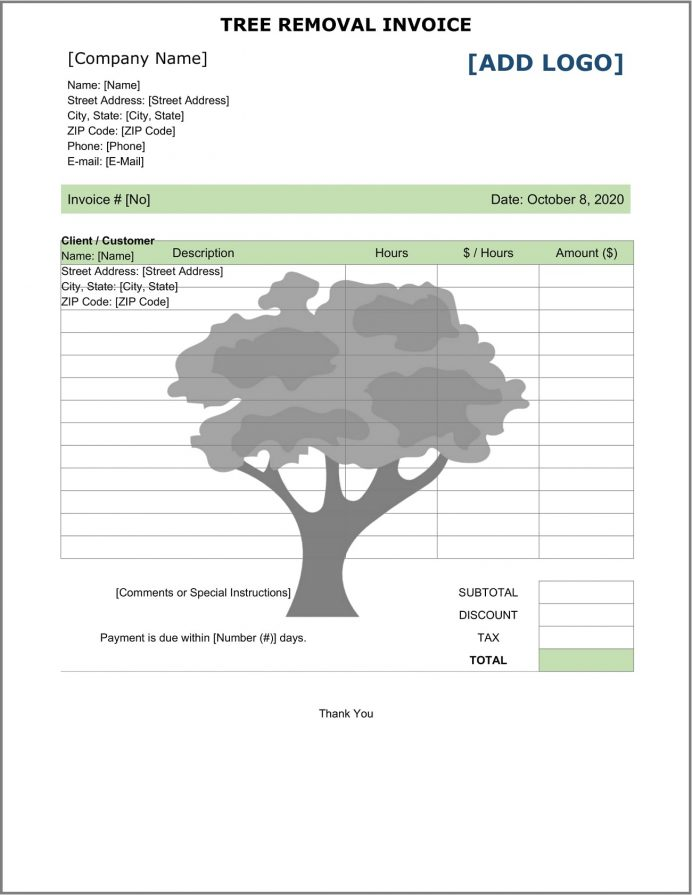 Tree Removal Service Invoice Template Word Sample Quote Template, Contract Example, Printable Invoice, Landscaping