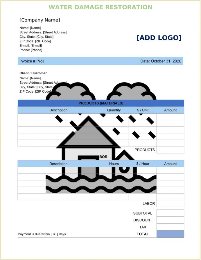 Water Damage Restoration Invoice Form Word Doc Template Sample Mold Remediation Template, Blank Text Format, Mitigation Form, Pdf,