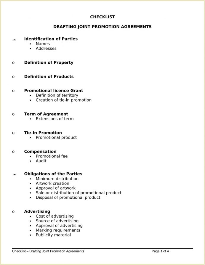 Checklist Drafting Joint Promotion Agreements Word Template Sample For Examples, Sales Agreement Template, Marketing And Co Pdf, Venture Agreement,