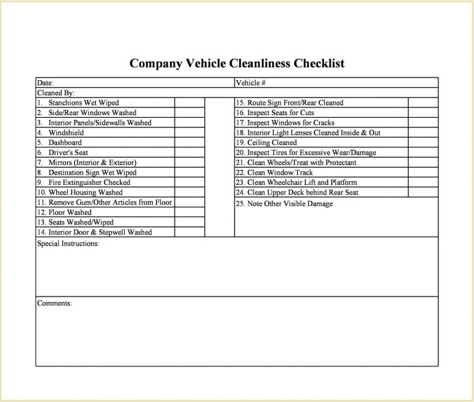 Company Vehicle Cleanliness Checklist Template Excel Example Cleaning Format, Covid-19 Checklist, Food Industry, Policy, Inspection
